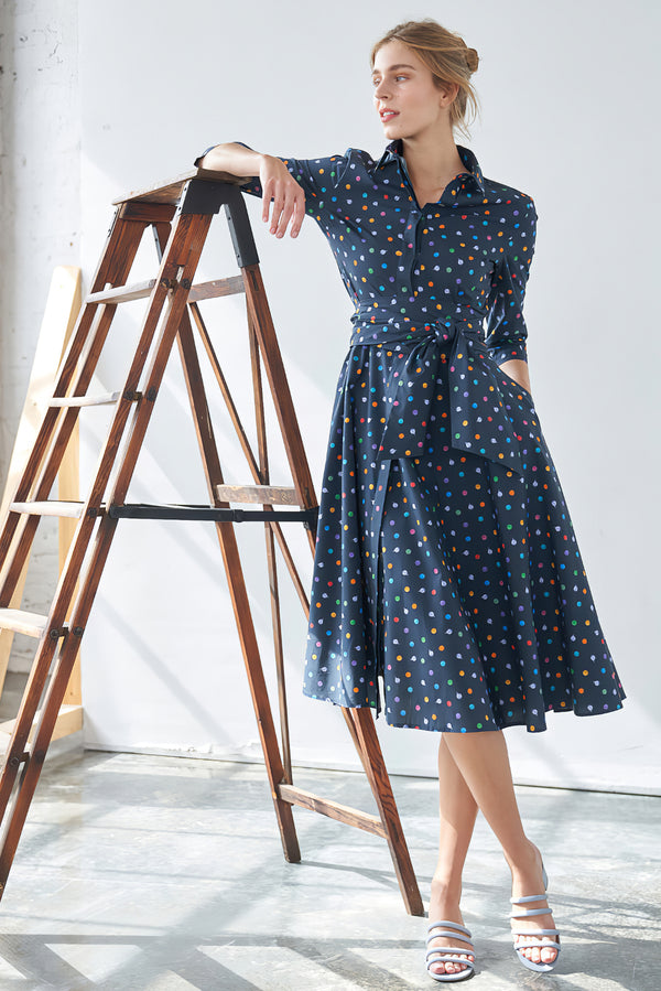 Shirtdress with tie belt black and bubbles print blue