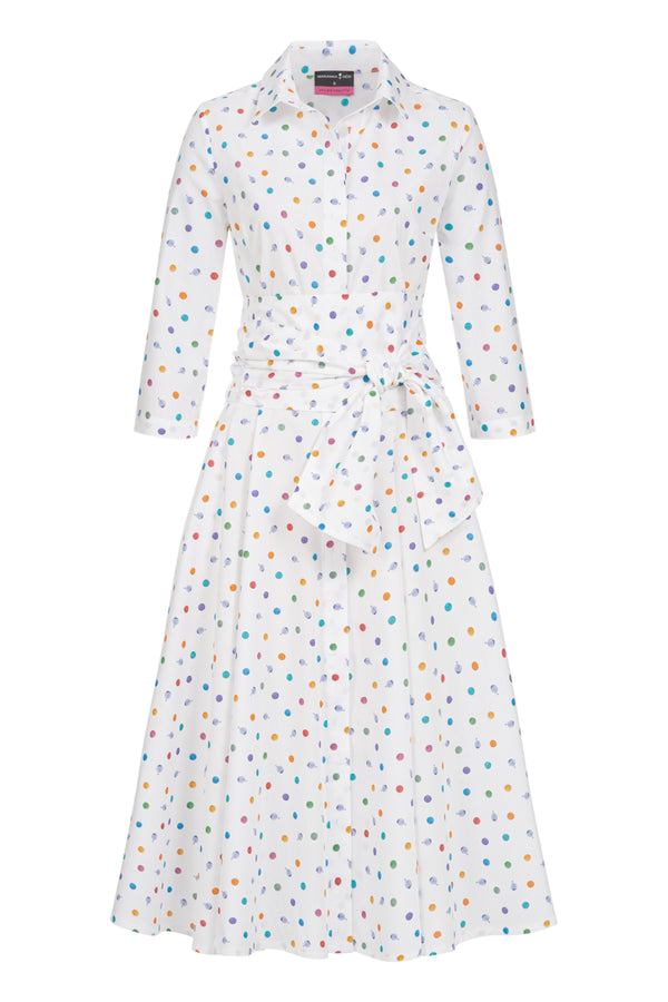 Shirtdress with tie belt and bubbles print white