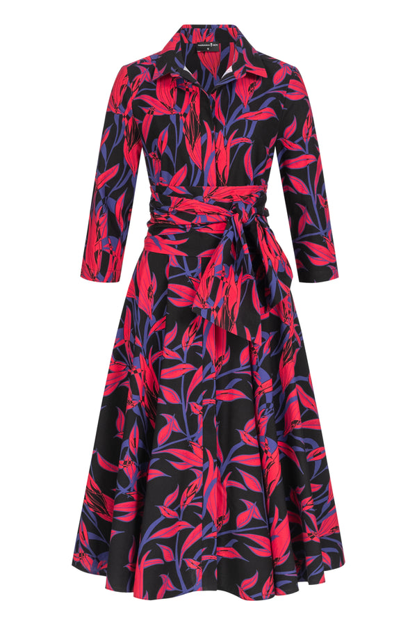 Shirtdress with tie belt and leaves print