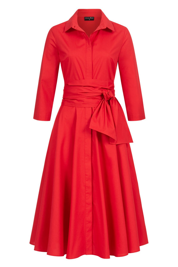 Shirtdress with tie belt red