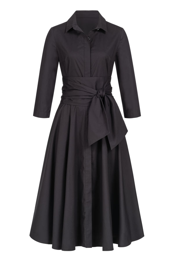 Shirtdress with tie belt black
