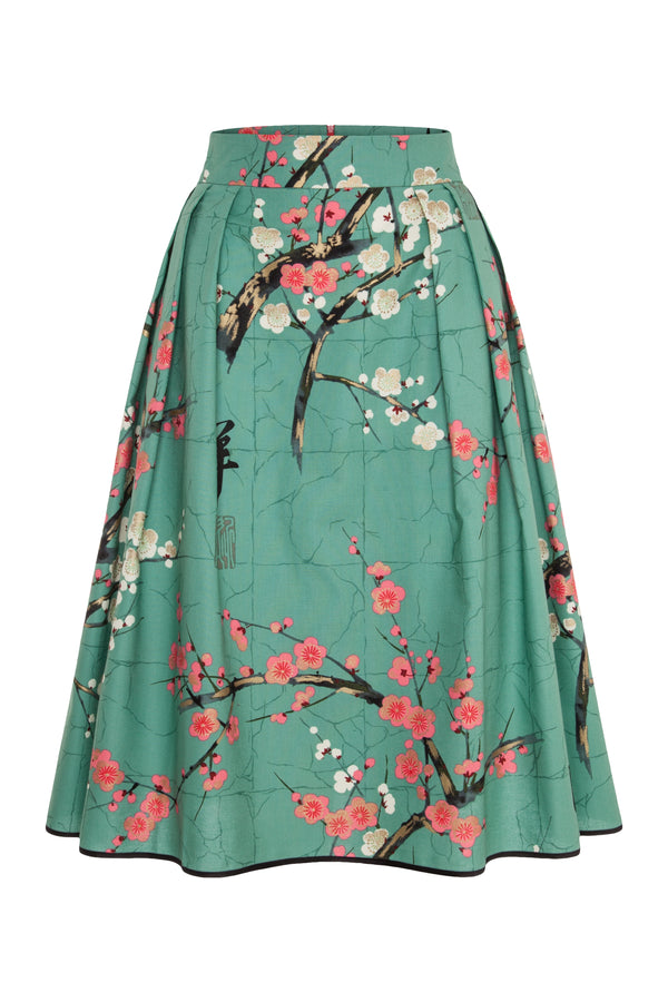 A-line skirt with blossom print mint