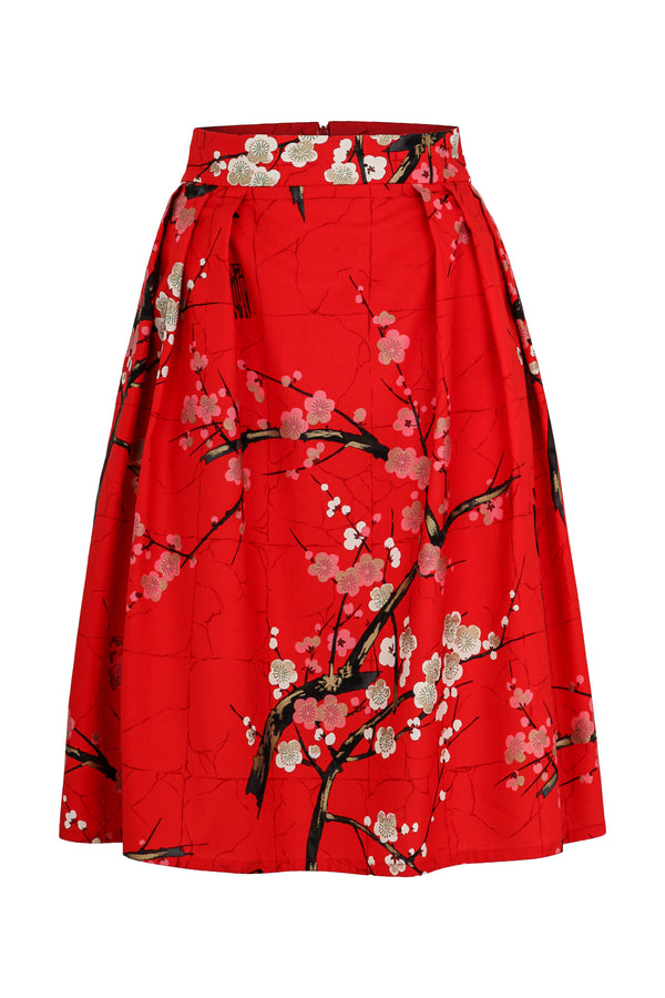 A-line skirt with blossom print red