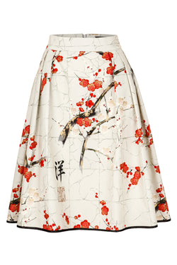 A-line skirt with blossom print taupe