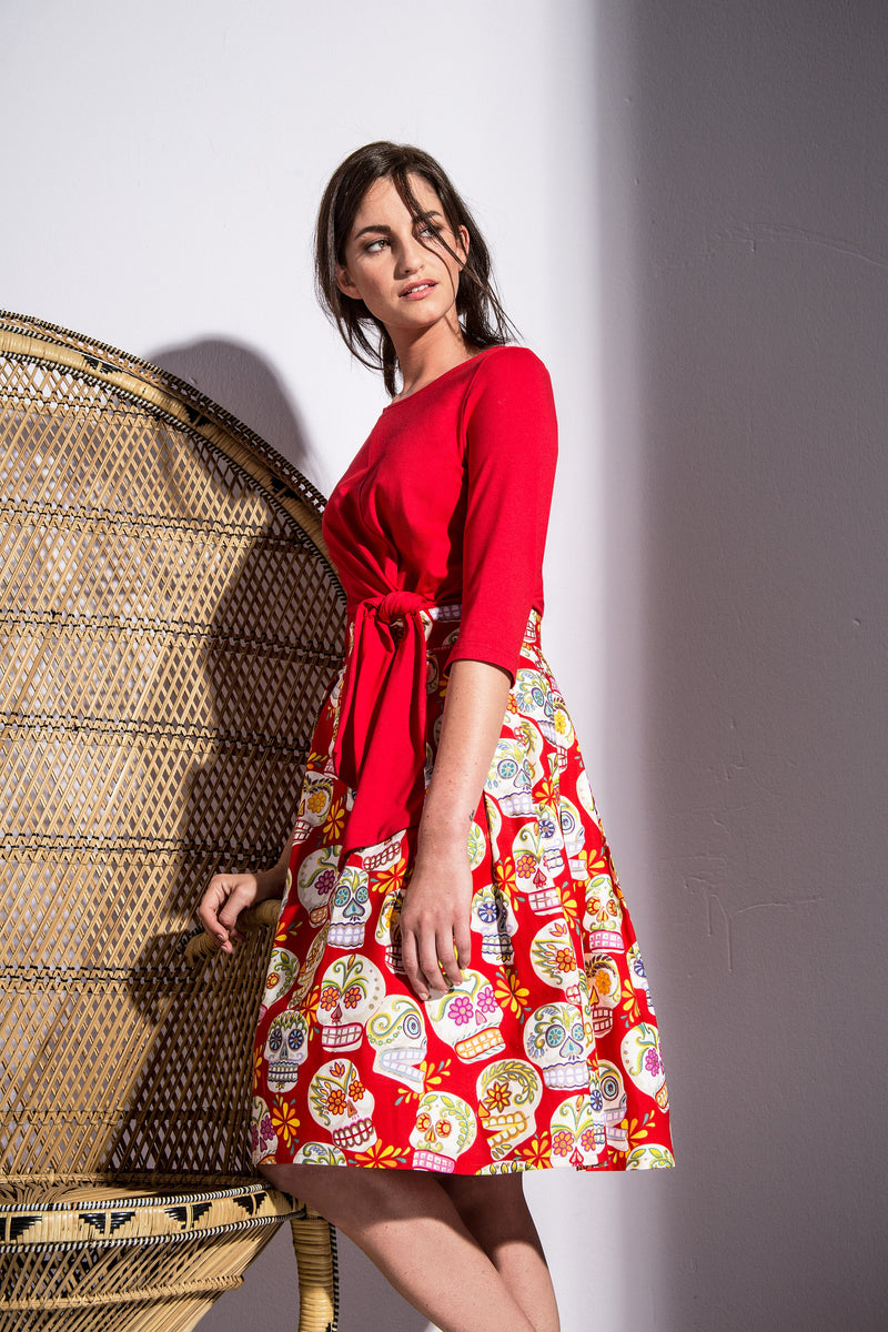 A-line Skirt Happy Sculls Red