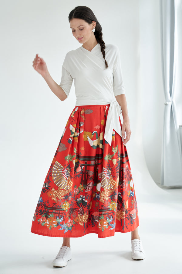 Maxi skirt with japanese print red