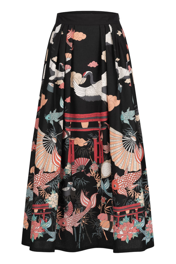 Maxi skirt with japanese print black