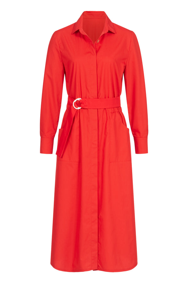 Shirtdress with ring-buckle belt red