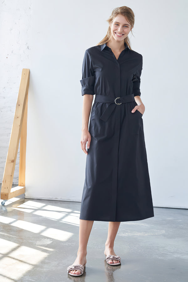 Shirtdress with ring-buckle black