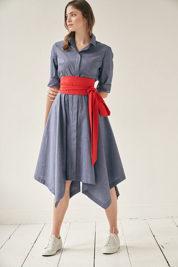 Laura Shirtdress Blue with Two Belts