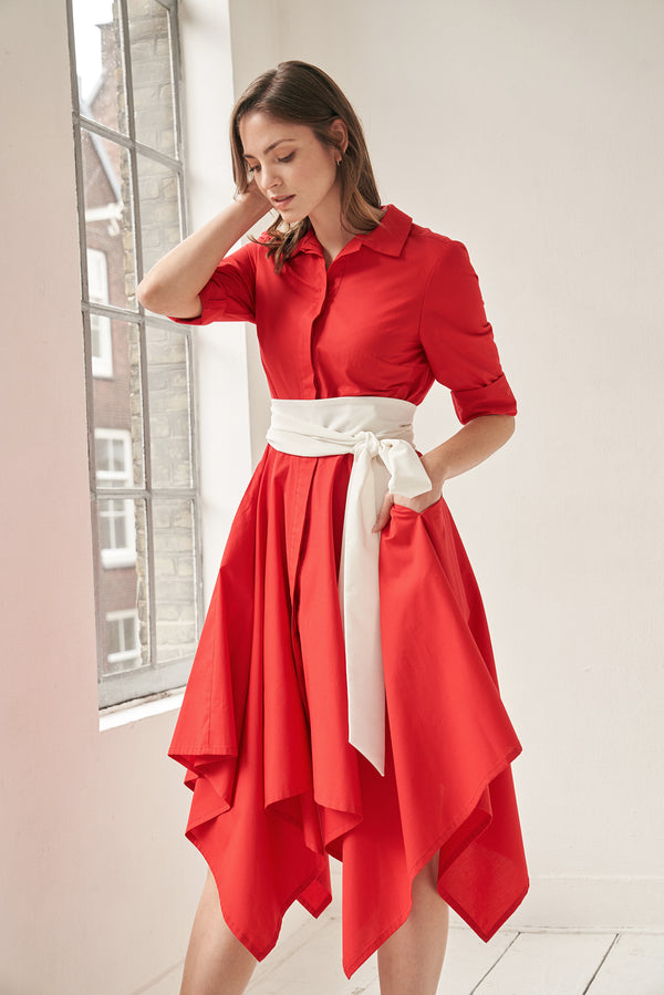 Laura Shirtdress Red with Two Belts