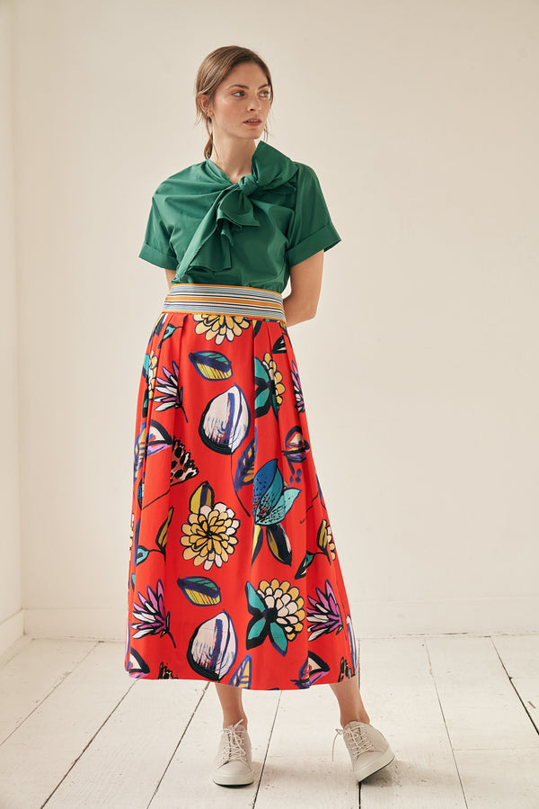 Midi skirt with flower print