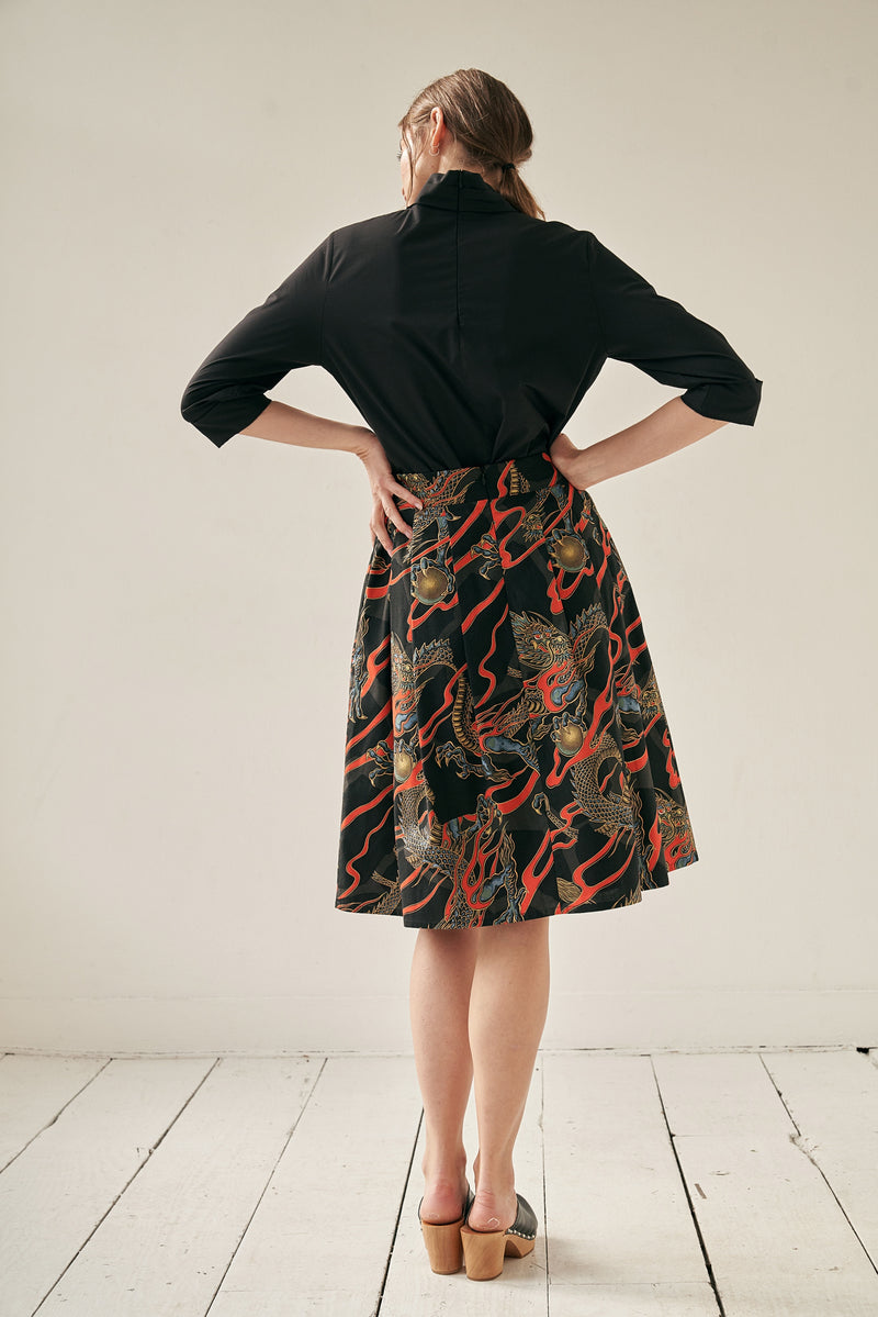 A-line Skirt Dragons Black