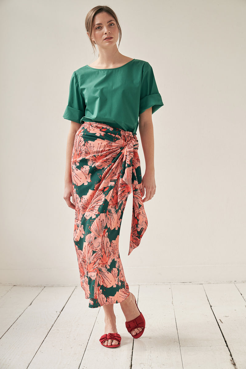 Wrap skirt with orchid print