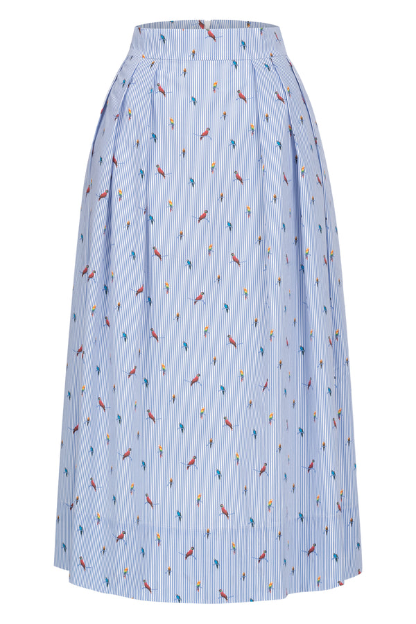 Midi skirt with parrot print