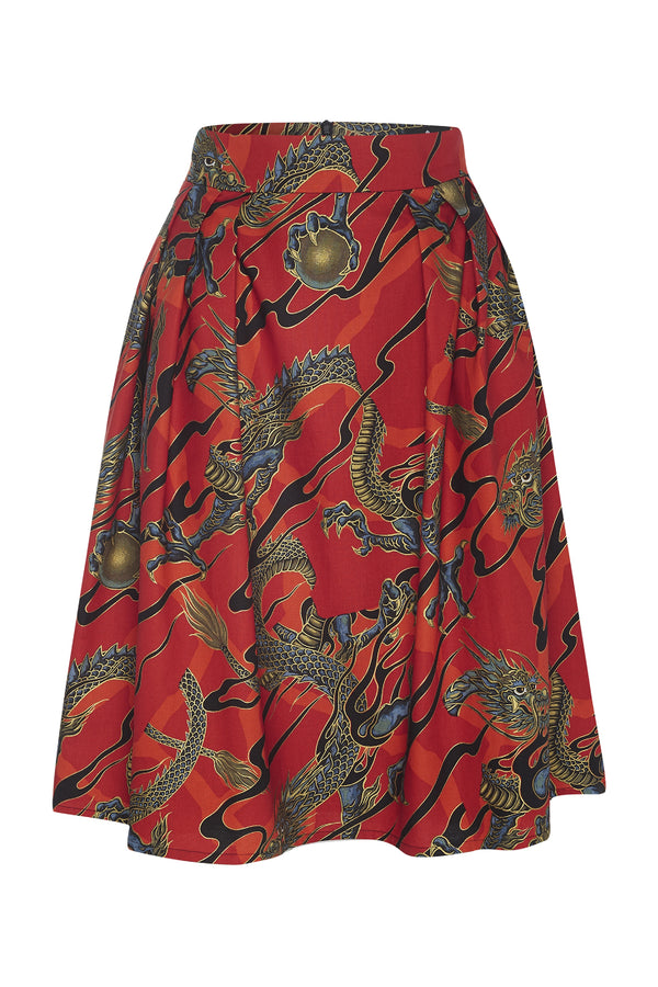 A-line Skirt Dragons Red