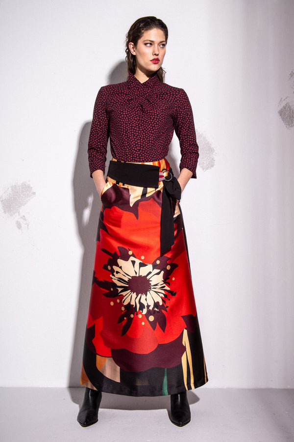 A-line maxi skirt with poppy print