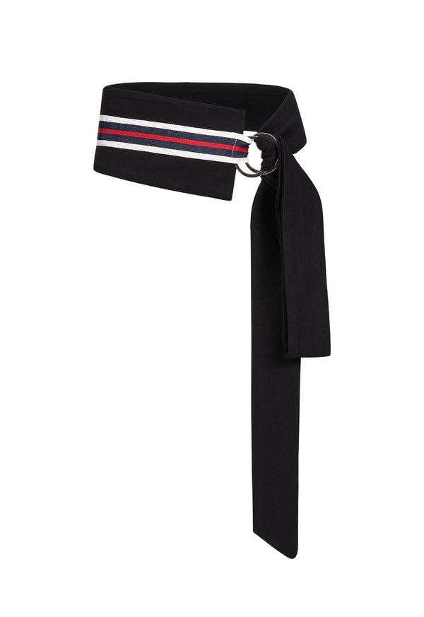 Mia Tie Belt Black/Navy Stripe