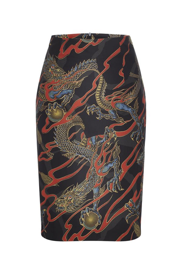 Pencil Skirt Dragons Black