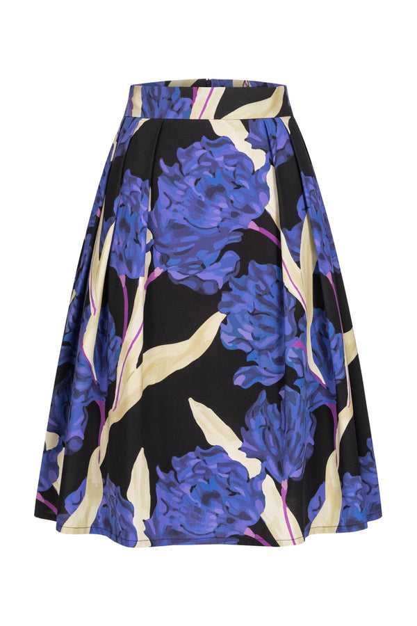 A-line skirt with hortensia print