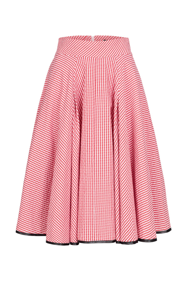 Plaid A-Line Skirt Red