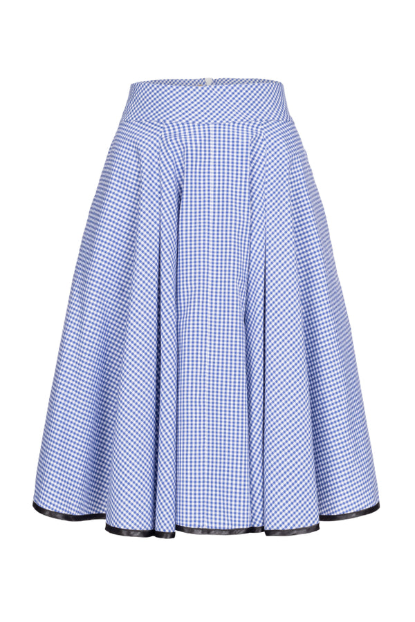 Plaid A-Line Skirt Blue