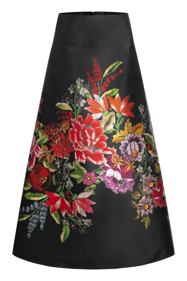 A-line midi skirt with flower print