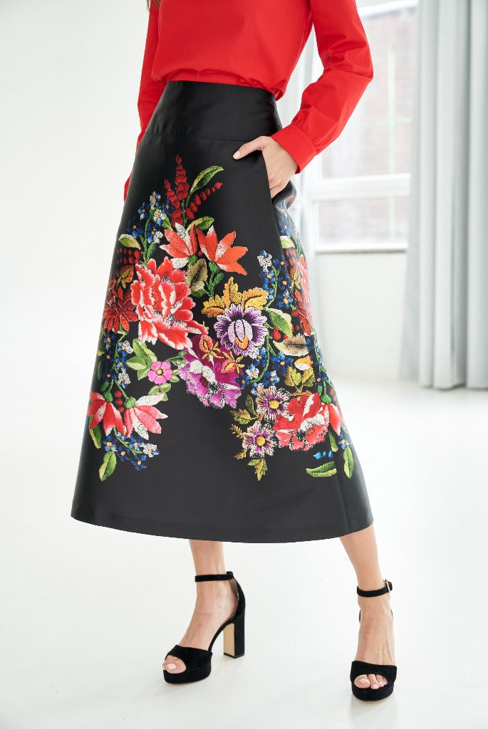 A-line maxi skirt with flower print