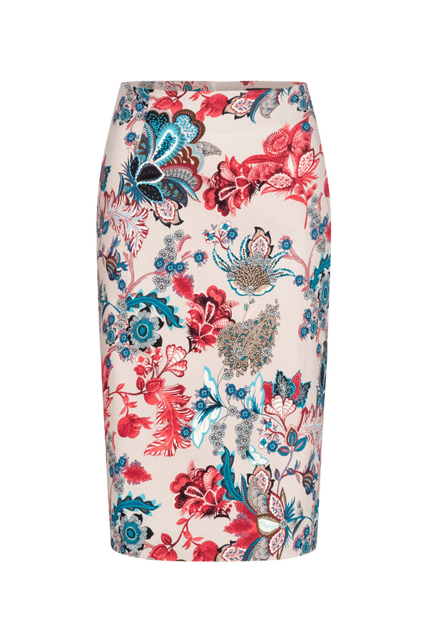 Pencil skirt with victorian print