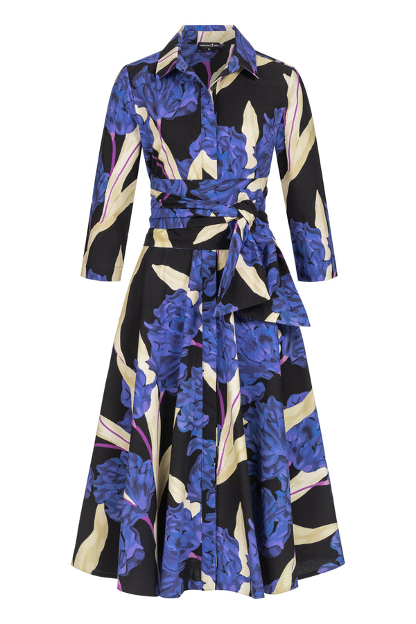 Shirtdress with tie belt and hortensia print