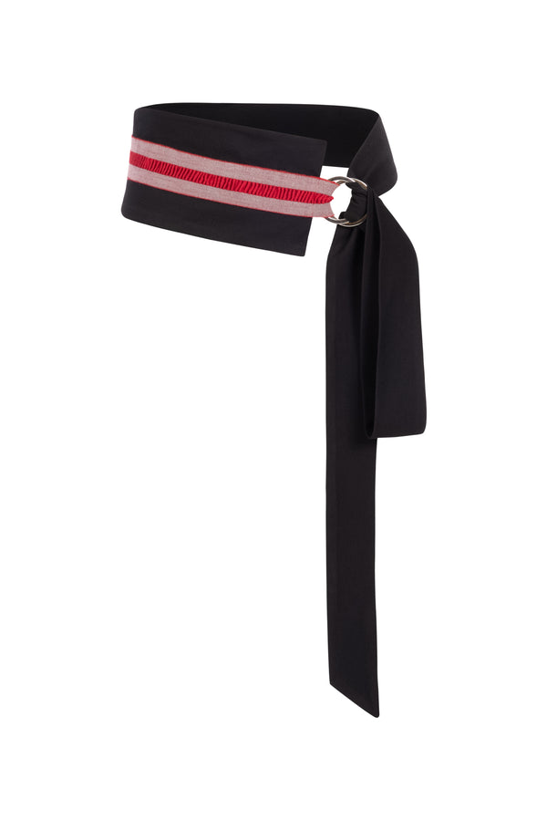 Mia Tie Belt Black/Red Stripe