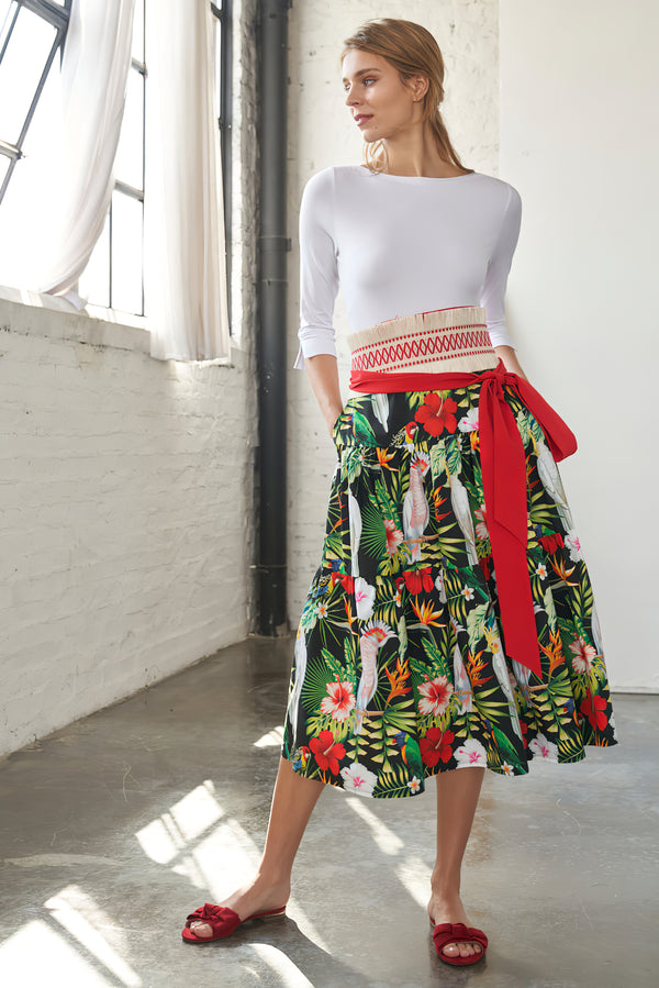 Midi skirt with parrots print and ruffles