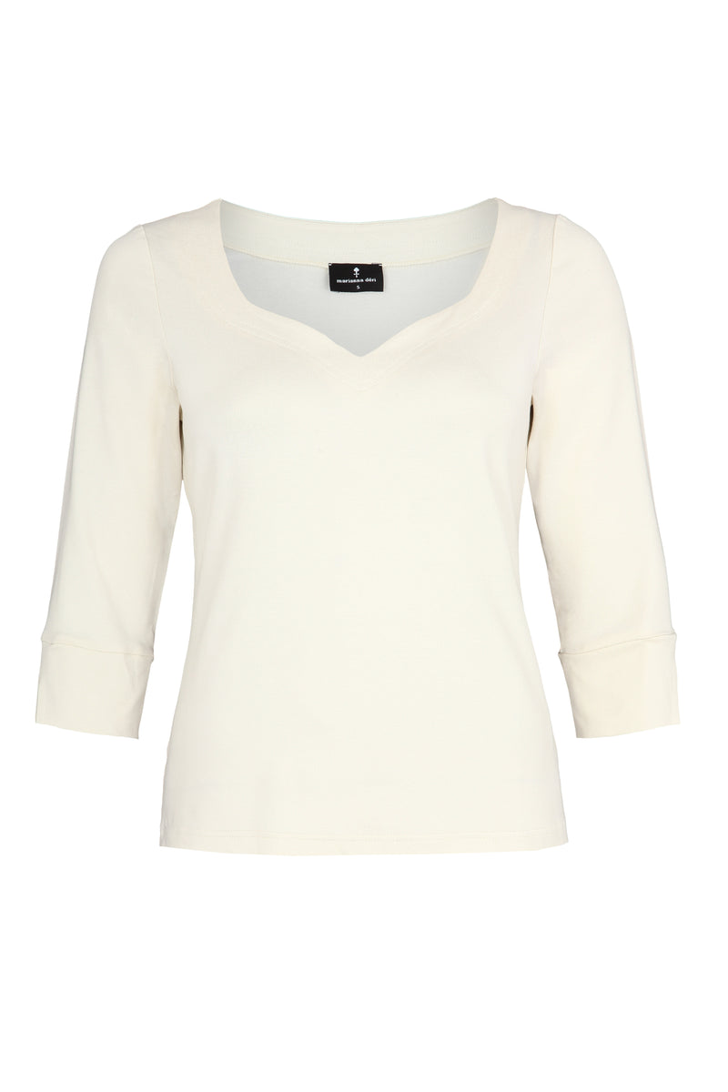 Top with heart neckline creme