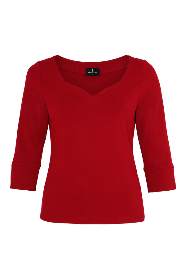 Top with heart neckline red