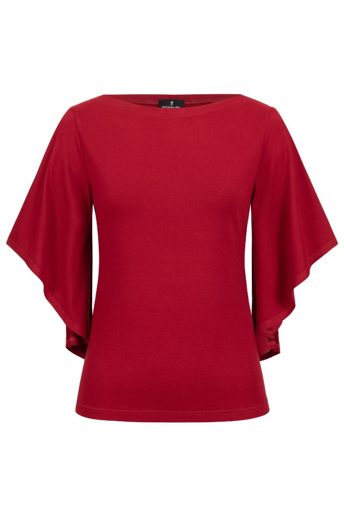 Top with trumpet sleeves red