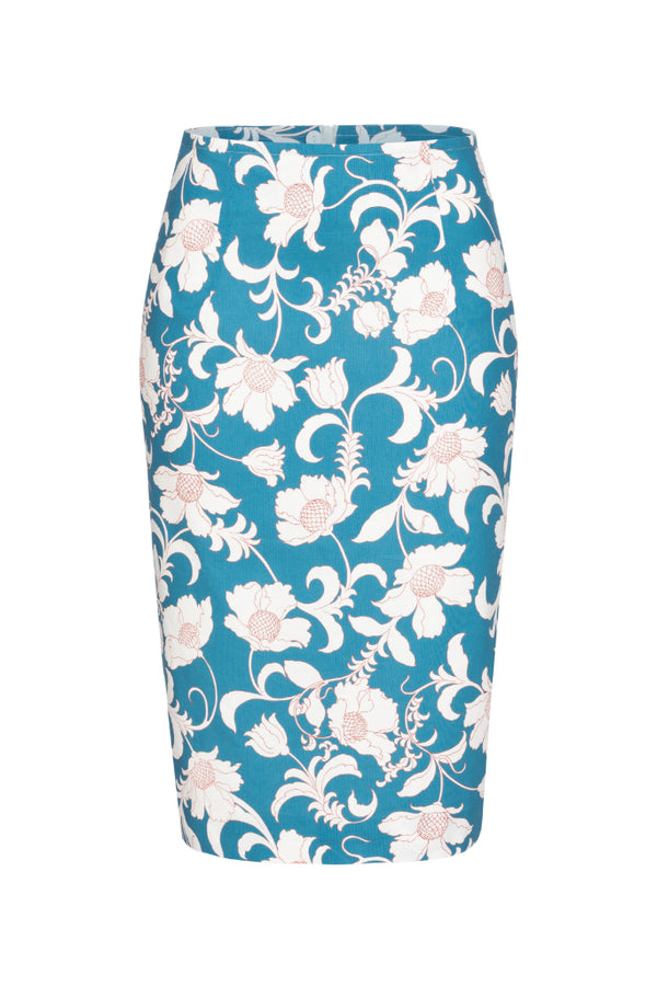 Pencil skirt with flowers print blue