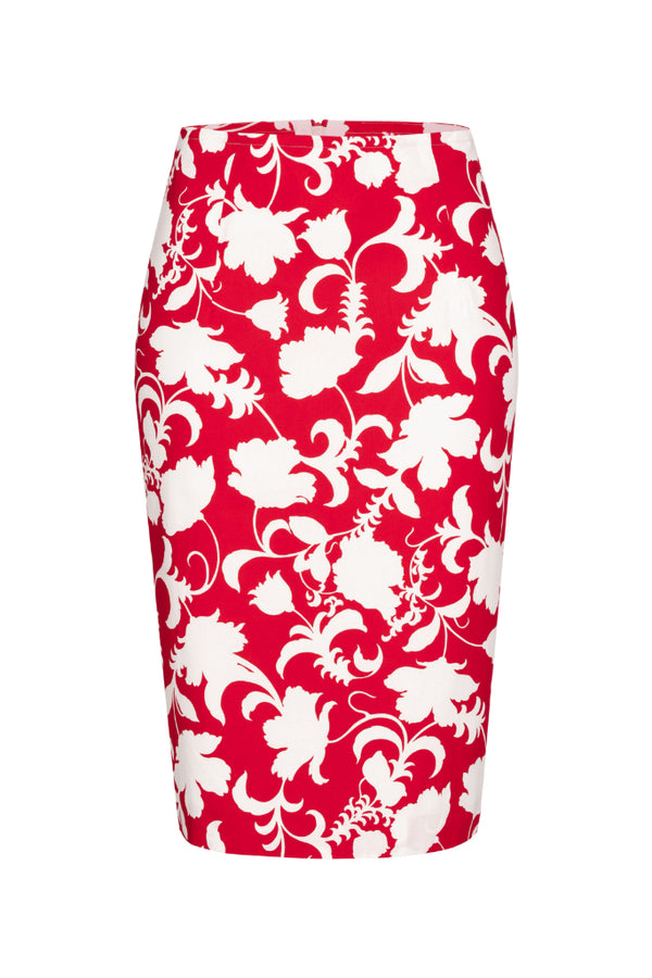 Pencil skirt with flowers print red