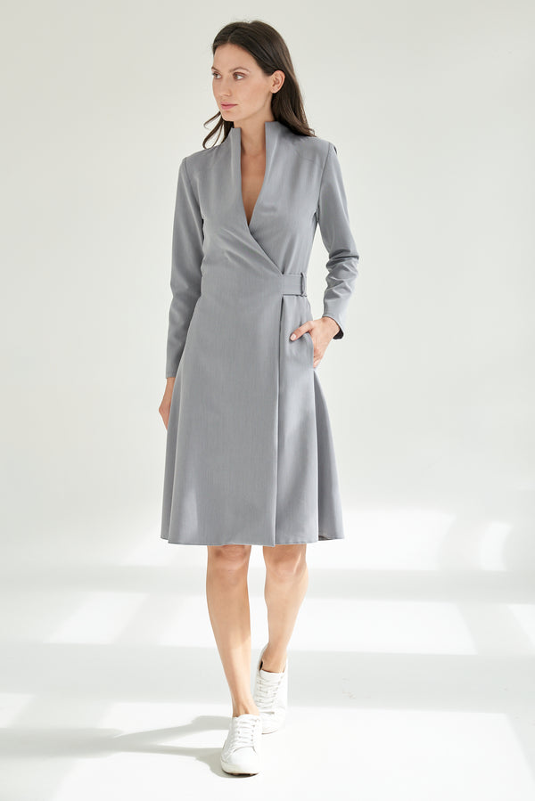 Wrap Dress Knee-length Grey