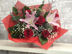 B29 - Half Dozen Roses with Pink Lily Bouquet
