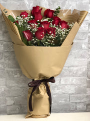 B32 - Dozen Long Stem Red Rose Bouquet