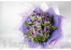 B22 - 1 Dozen Individual Dark Purple/Blue Roses