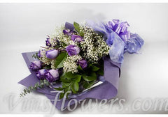 B13 - 1 Dozen Presentation Dark Purple Roses