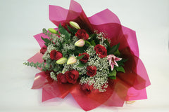 B24 - 1 DOZEN RED ROSES WITH LILIES