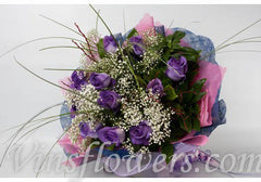 B18 - 1 Dozen Deluxe Dark Purple Roses