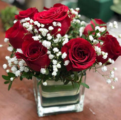 A14 - Red Roses in Square Vase