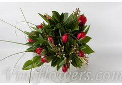 B03 - Red Tullips Hand-Tied