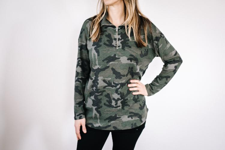 Camo zip up shirt