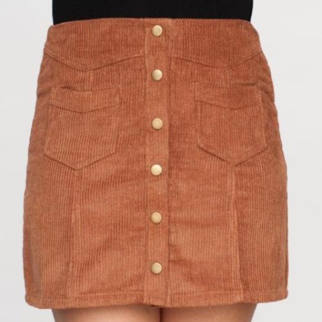 Brown corduroy skirt with buttons