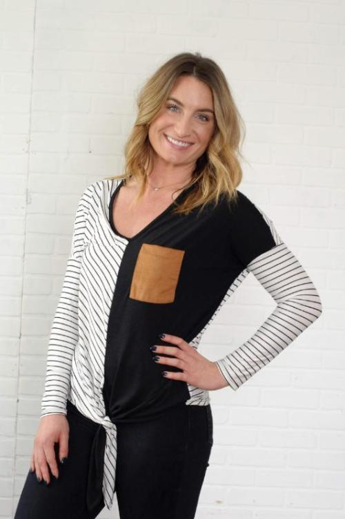 Long sleeve striped and solid knit top