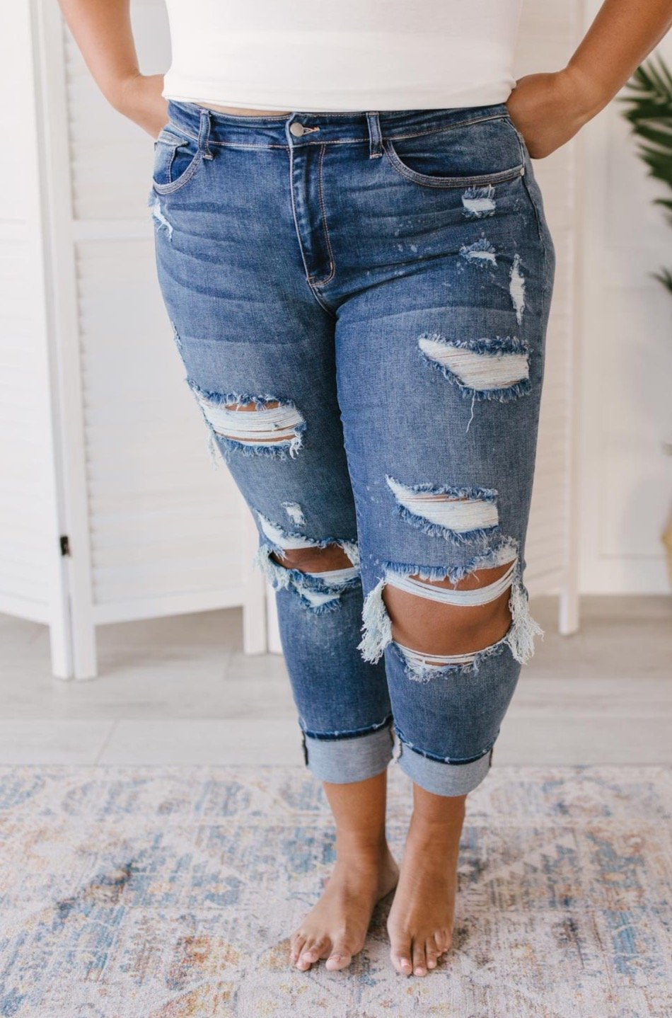 Just My Type Destroyed Boyfriend Jeans-Ave Shops-Avis Lane Boutique-Justin, Texas